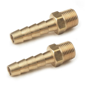 "STRAIGHT BRASS FUEL FITTINGS, MALE 1/8"" NPT X 1/4"" BARBED, PAIR"