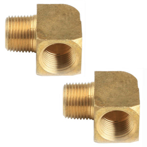 "BRASS FITTINGS 90 DEGREE, FEMALE 3/8"" NPT X 3/8"" MALE NPT, PAIR"