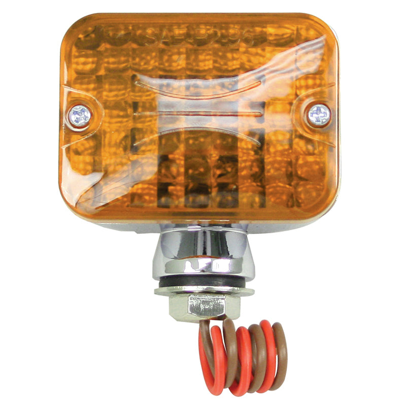 DUAL FILAMENT MINI TAIL LIGHT WITH AMBER LENS & CHROME HOUSING, EACH