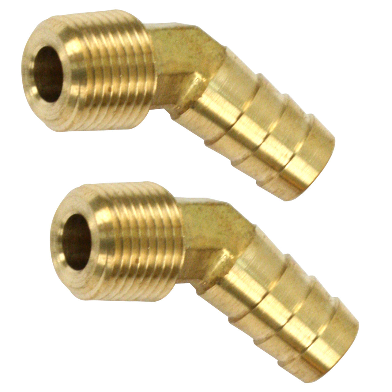 "BRASS FITTINGS 30 DEGREE, MALE 3/8"" NPT X 1/2"" BARBED, PAIR"