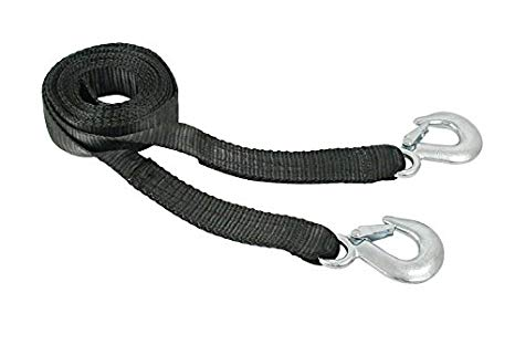 "BLACK TOW STRAP WITH HOOKS 3-1/2"" WIDE X 13' LONG, RATE 10,000 LBS"