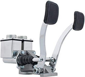 "RACE TRIM POLISHED DUAL PEDAL ASSEMBLY, 3/4"" CLUTCH X 7/8"" BRAKE"