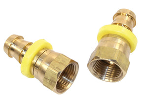 "STRAIGHT BRASS FITTING, FEMALE AN -8 X 1/2"" SWIVEL BARBED, PAIR"