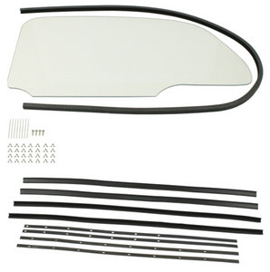 BUG 1 PIECE CLEAR WINDOW KIT WITH SNAP-IN SCRAPERS 1965-77, PAIR