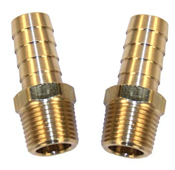 "STRAIGHT BRASS FITTINGS, MALE 1/2"" NPT X 3/8"" BARBED, PAIR"