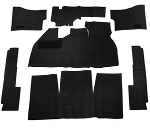 BLACK 7 PIECE CARPET KIT VW BUG / BEETLE 1958-1968, WITH FOOT REST