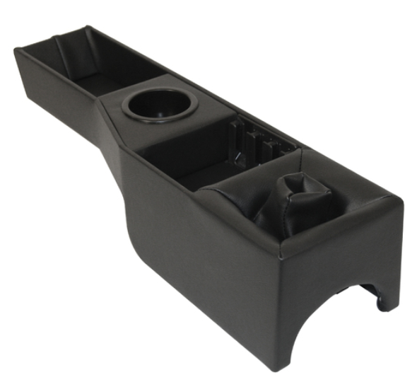 DELUXE BLACK VINYL CENTER CONSOLE WITH SHIFTER BOOT AND CUP HOLDER