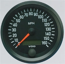 BLACK COCKPIT SERIES GAUGES - SPEEDOMETER, 160 MPH, MPH ONLY, 3 3/8""