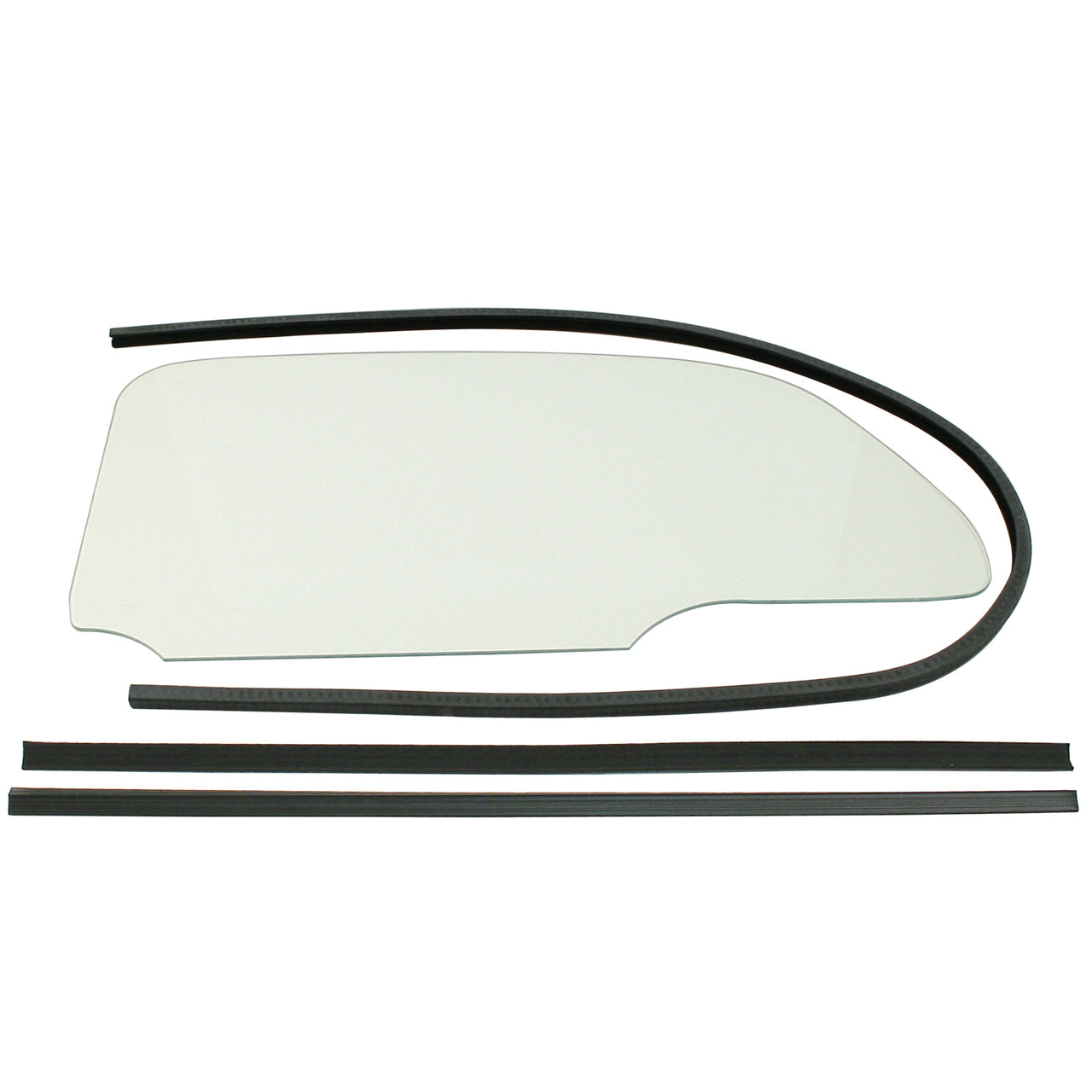VW BUG 1 PIECE CLEAR WINDOW KIT WITH GLUE IN SCRAPERS 1958-64, PAIR