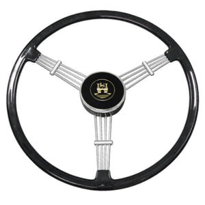 "BANJO STYLE BLACK VINTAGE 3 SPOKE STEERING WHEEL, 15-1/2"" DIAMETER"