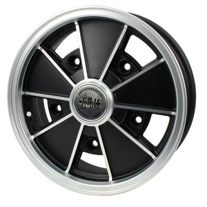 "Brm Wheel, Black With Silver Lip, 5"" Wide, 5 on 205mm VW"