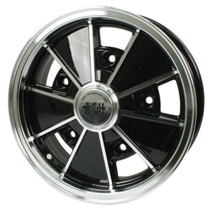 "Brm Wheel, Black With Polished Lip, 5"" Wide, 5 on 205mm VW"