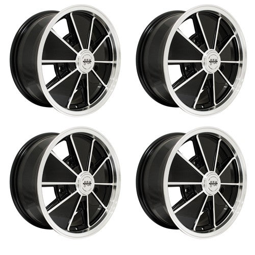 "Brm Wheel, Black With Polished Lip, 6.5"" Wide, 5 on 205mm VW EACH"