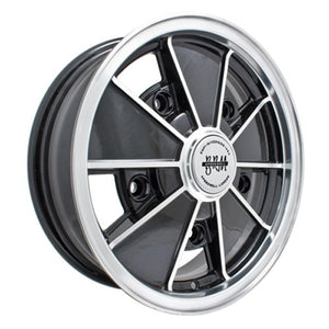 "Brm Wheel, Black With Polished Lip, 17x7"", 5 On 205mm VW"