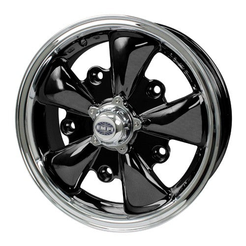 "Gt-5 Wheel, Black With Polished Lip, 5.5"" Wide, 5 on 112mm"