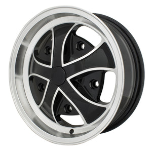 "Rebel Wheel, Black With Polishd Lip, 5.5"" Wide, 5 on 205mm"