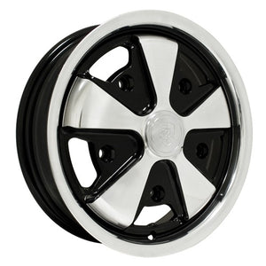 "911 Alloy Wheel, Polished WithBlack, 5-1/2"" Wide, 5 on 205mm"