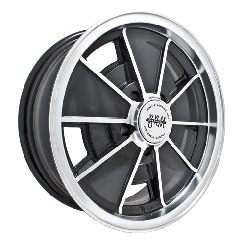Brm Wheel, Black With Polished Lip,17x7, 5 on 112mm VW