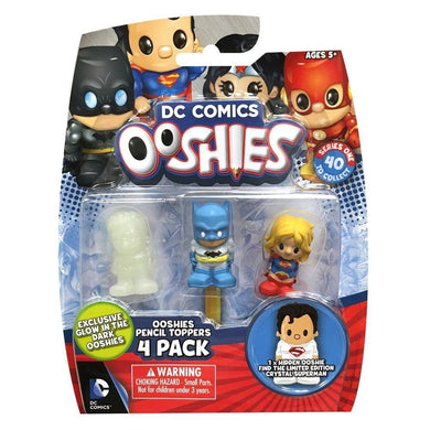 Ooshies DC Comics Pencil Toppers 4 Pack GITD Aquaman, Batman and Supergirl + Mystery Figure