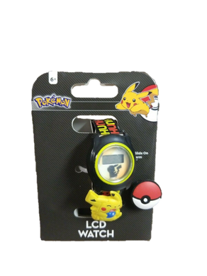 Pokemon Pikachu Pokeball Boys LCD Watch with Slide-on Charm