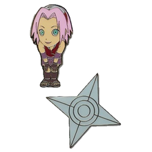 Load image into Gallery viewer, Naruto Shippuden Pin Set Chibi Sakura & Shuriken