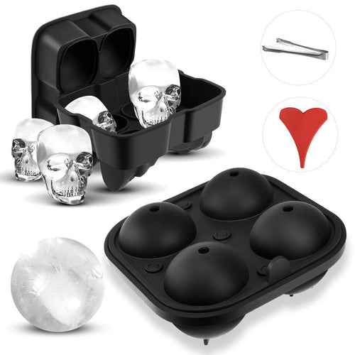 Uarter Round Sphere Mold with 3D Skull Ice Mold Large