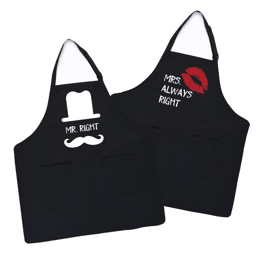 Uarter Couple Women Men Apron Set Cotton Kitchen Cooking Aprons