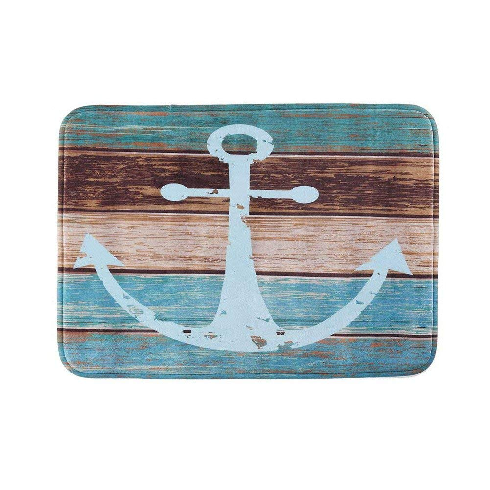 Uarter Vintage Retro Nautical Anchor Bathroom Rug