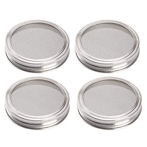 Uarter Sprouting Jar Lid Kit Stainless Steel Strainer Lid Set Rustproof Canning Jar Lids for Wide Mouth Jars, Set of 4