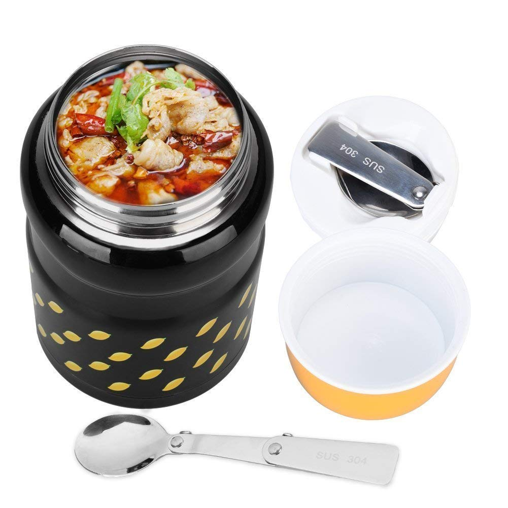 Uarter Stainless Steel Food Jar, Portable Lunch Thermos, Vacuum Insulated Food Container with Folding Spoon