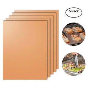 "Uarter BBQ Grill Mat – 5 Pcs Non-stick Reusable Bake Mats for Baking on Gas, Charcoal, Oven and Electric Grills, 15.7""x13"""