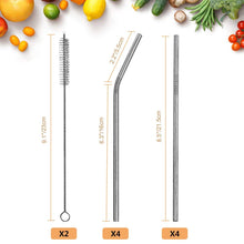 "Load image into Gallery viewer, Uarter 8.5"" Long Reusable Replacement Metal Straws"