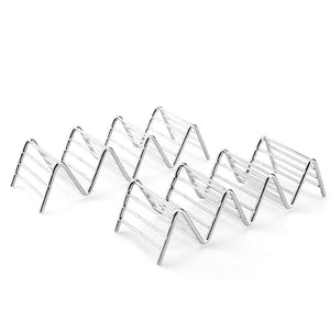 Uarter Taco Holder - Stainless Steel Taco Stands Rack Shells for Holding Tacos, Sandwiches, Bread, Hot Dogs Pancakes, Set of 2