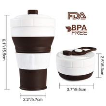 Load image into Gallery viewer, Uarter Collapsible Coffee Cup – Silicone Travel Mug Coffee Cup BPA-Free Leak-Proof 450ml/16OZ, Brown