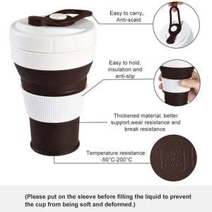Uarter Collapsible Coffee Cup – Silicone Travel Mug Coffee Cup BPA-Free Leak-Proof 450ml/16OZ, Brown