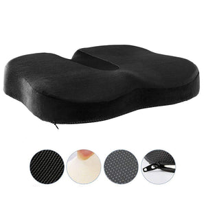Uarter Memory Foam Seat Cushion, Cozy Office Chair Pad Detachable Seat Cushion Pillow for Relieving Tailbone and Sciatica Pain, Black