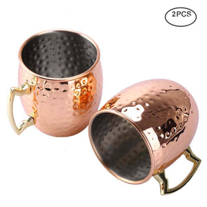Uarter Solid Moscow Mule Copper Mug Set, Premium Copper Moscow Mule Cups Pure Copper Mule Cups