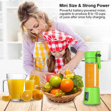 Load image into Gallery viewer, Uarter Multi-functional Juicer Cup USB Rechargeable Juice Blender Portable Fruit Mixer Squeezer with 2 Sharp Blades, Suitable for Kitchen, Camping and Travel, 380mL