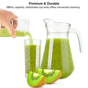 Uarter Multi-functional Juicer Cup USB Rechargeable Juice Blender Portable Fruit Mixer Squeezer with 2 Sharp Blades, Suitable for Kitchen, Camping and Travel, 380mL