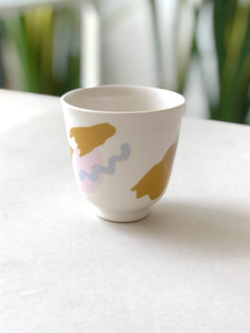 Small cup abstract pattern  - Blue mix