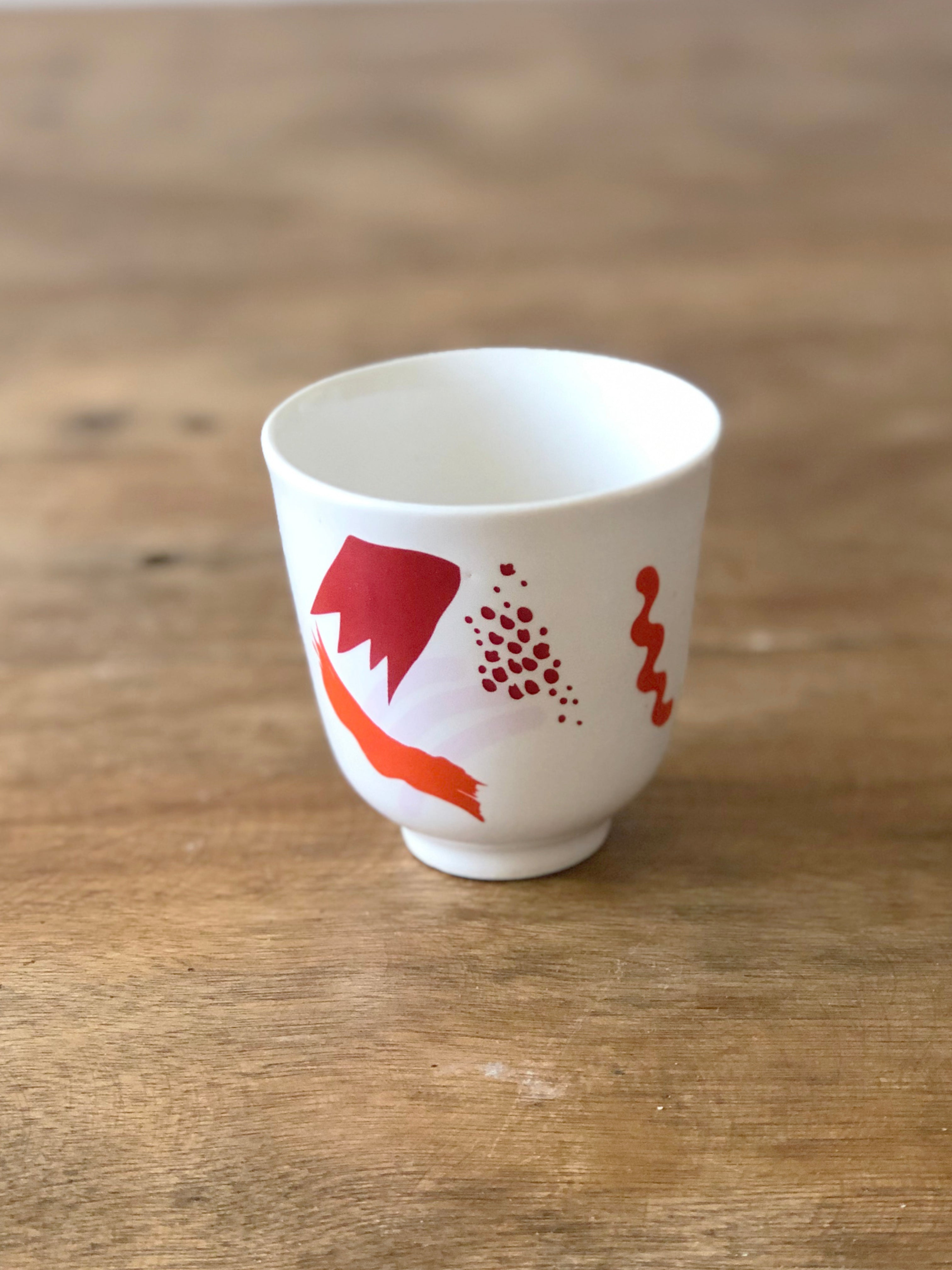 Small cup abstract pattern  - Red mix