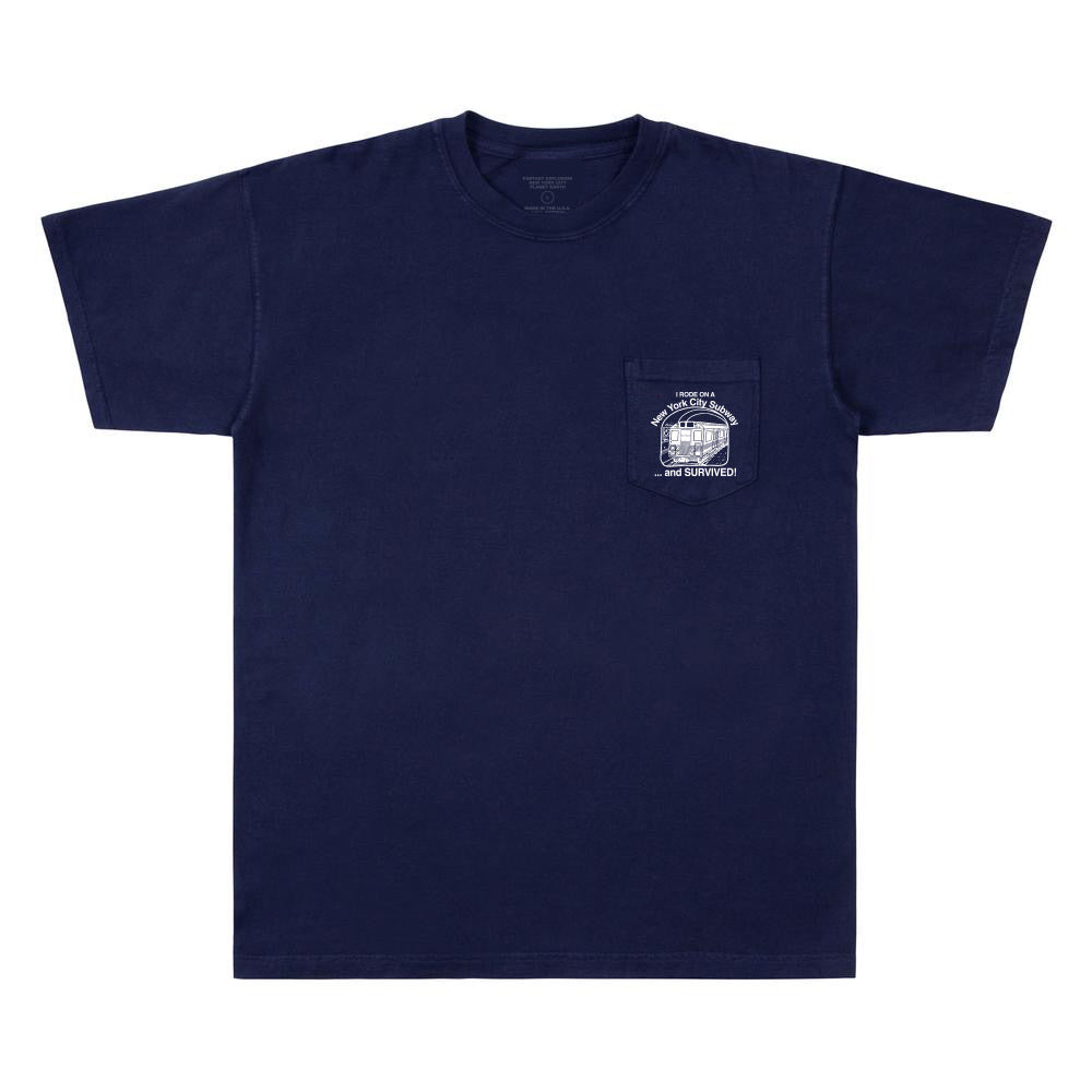 NYC Subway Survival Pocket Tee (Navy)