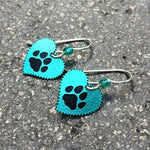 Paw Print Heart Earrings