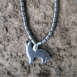 Hematite Howling Wolf Necklace
