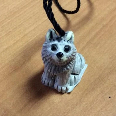 Clay Wolf Necklace