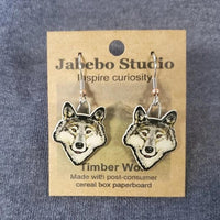 Wolf Head and Paw Print Earrings