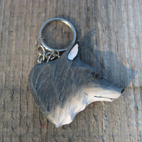 Wooden Wolf Head Keyring