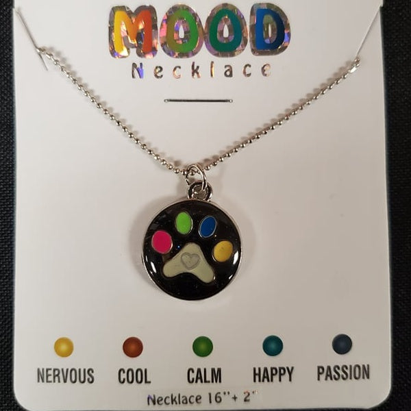 Round Paw Print Mood Necklace