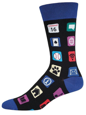 Black socks with Apps pictures
