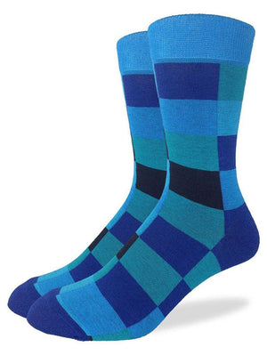 Blue aquatic geometric socks from Good Luck Socks